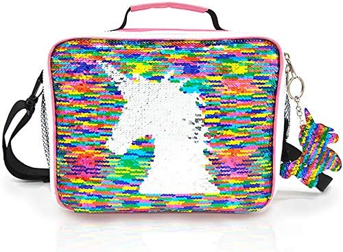 JYPS Insulated Unicorn Lunch Box for Kids, Flip Sequin Girls Tote Lunch Bags with Shoulder Strap, Handheld Reusable Lunch Box Bags Christmas Gifts for Girls at School