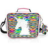 JYPS Insulated Unicorn Lunch Box for Kids, Flip Sequin Girls Tote Lunch Bags with Shoulder Strap, Handheld Reusable Lunch Box Bags Gifts for Girls at School