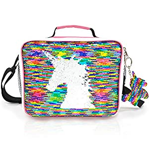 JYPS Insulated Unicorn Lunch Bag for Kids, Flip Sequin Girls Tote Lunch Bags with Shoulder Strap, Handheld Reusable Lunch Box Bags Gifts for Girls at School