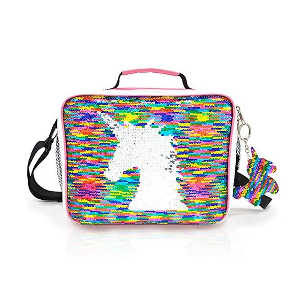 JYPS Insulated Unicorn Lunch Box for Kids, Flip Sequin Girls Tote Lunch Bags with Shoulder Strap, Handheld Reusable Lunch Box Bags Christmas Gifts for Girls at School 3