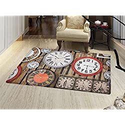 smallbeefly Clock Door Mats Area Rug Antique Clocks on the Wall Instruments of Time Vintage Design Pattern Artwork Floor mat Bath Mat for tub Brown and Red