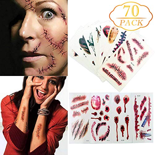 Augshy 70 Pcs Horror Realistic Fake Bloody Wound Stitch Scar Scab Waterproof Temporary Tattoo Sticker Halloween Masquerade Prank Makeup Props Stickers,14 Pieces