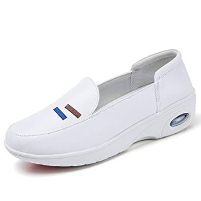 55fc1f74560 ZYEN Women s Comfortable Nursing Shoes All White Leather Nurses Slip On Work  Medical Loafers White 38