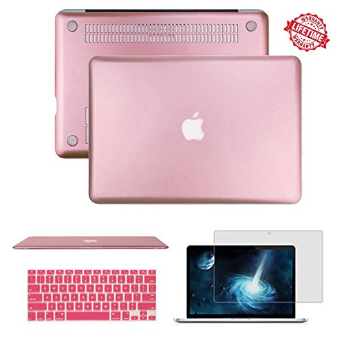 """MacBook Air 13.3 inch Case, IC ICLOVER Rubberized Matte Hard Shell Plastic Case+Matching Keyboard Skin+LCD Screen Protector for MacBook Air 13.3""""-Fits Model A1466/A1369(Rose Gold)"""
