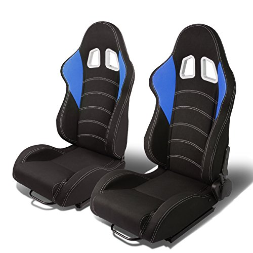 Set of 2 Universal Wings Design Type-R Woven Fabric Reclinable Racing Seats w/Sliders (Black/Blue) - Fabric Covered Seat