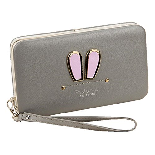 Soft Leather Wristlet Clutch Wallet Cute Rabbit Ears Business Phone Case Hard Frame Money Clip Travel Card Holders Women`s Long Wallet Purse (Galaxy Display Card)