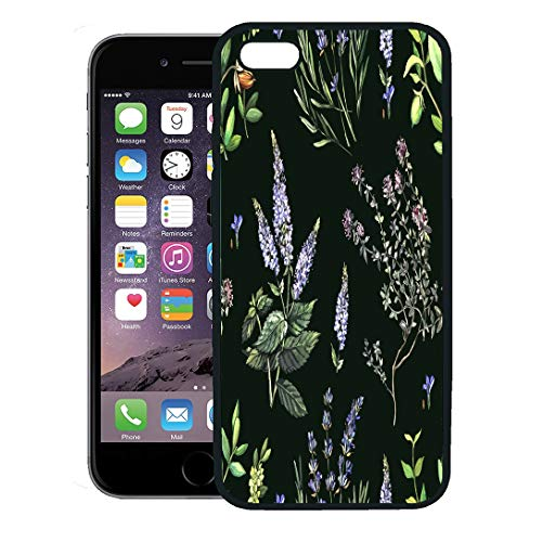 (Semtomn Phone Case for iPhone 8 Plus case,Green Lavender Medicinal Plants Hand Painting Watercolor and Aroma Beauty iPhone 7 Plus case Cover,Black)