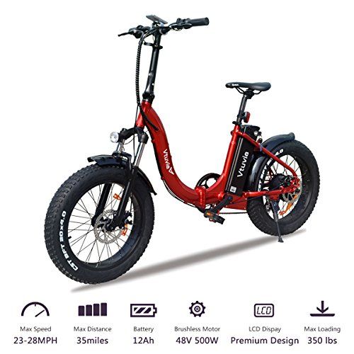 VTUVIA Folding Electric Bicycle With 500W motor And 12Ah Lithium-Ion Battery, 20 Inch Fat Tire E Bike City Mountain E-Bike For Adults (Red Frame – Black Rim) Review