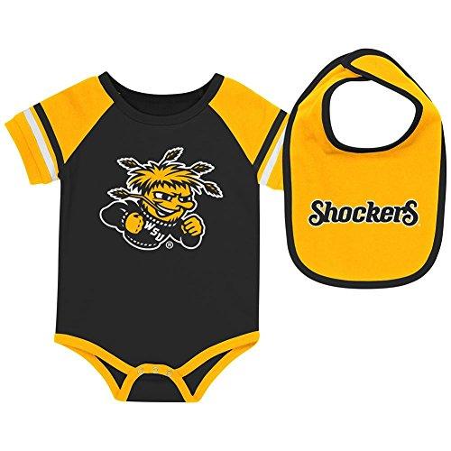 Colosseum Wichita State Shockers Baby Bodysuit and Bib Set Infant Jersey (0-3 M)