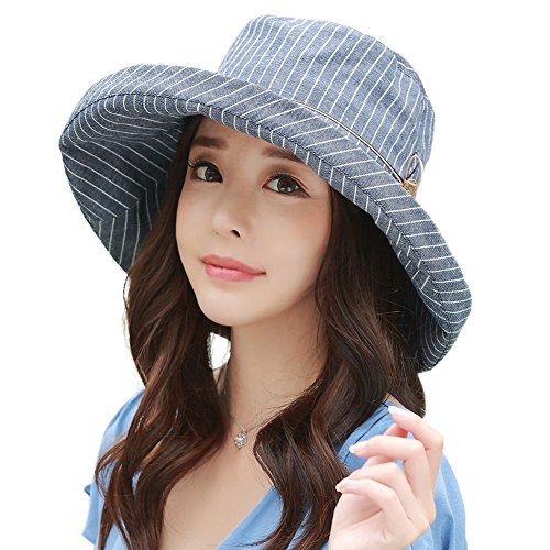 Summer Cord - Siggi Ladies UPF50+ Summer Sunhat Cotton Bucket Packable Crushable Foldable Wide Brim Hats w/ Chin Cord NavyBlue