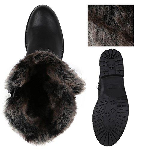 Stiefelparadies Damen Stiefeletten Cowboy Boots Profilsohle Gefütterte Stiefel Flandell Schwarz Berkley