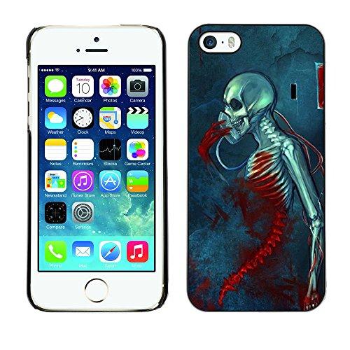 GagaDesign / Coque Housse Case Etui Cover - Blood Death Grim Blue Skull Skeleton - Apple Iphone 5 / 5S