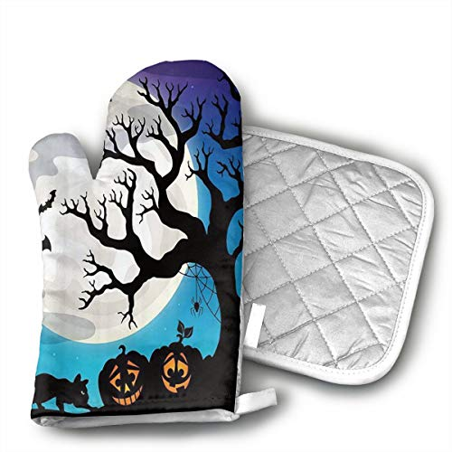 UFKEOJ Halloween Party Oven Mitts,BBQ Microwave Baking Protective