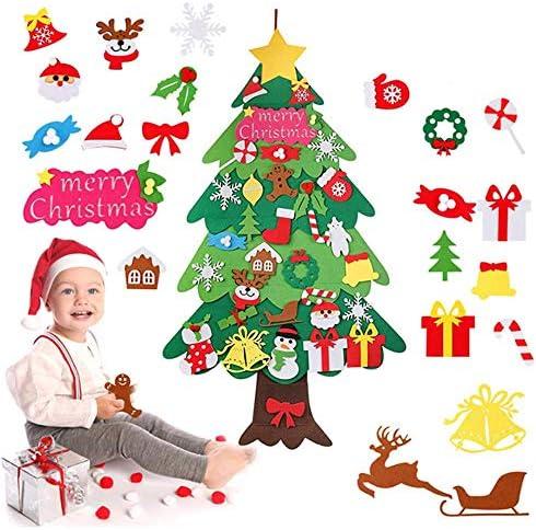 Zueyen Albero di Natale in Feltro, Albero di Natale in Feltro Fai-da-Te per Bambini Piccoli con Ornamenti Staccabili 34 Pezzi Alberi di Natale da 115 cm per Regali di Natale