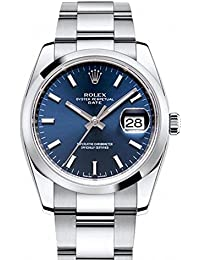 Date 34mm Blue Dial Stainless Steel Men's Watch 115200