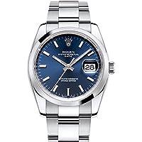 Rolex Fecha 34mm Azul Dial Acero inoxidable de los hombres reloj 115200
