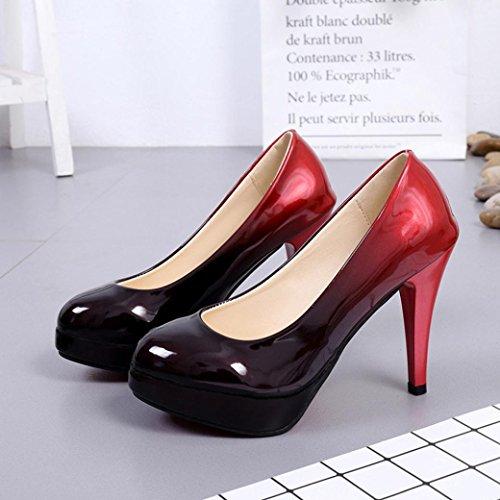 hunpta hauts profonde verni cuir couleur hauts C peu chaussures talons chaussures à dégradé Mode femme à chaussures en de talons wqwrFZ4C