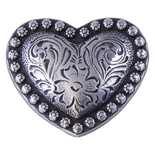 Heart Berry Conchos (Antique Silver Finish, 1-1/4)