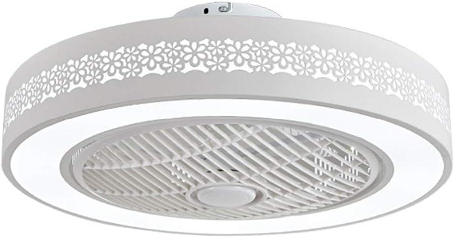 Ventilador de techo con luces, Invisible techo de acrílico de la hoja de metal Shell ventilador de luz, LED de 22 pulgadas ventilador de iluminación modo de control remoto de 3 colores (blanco)