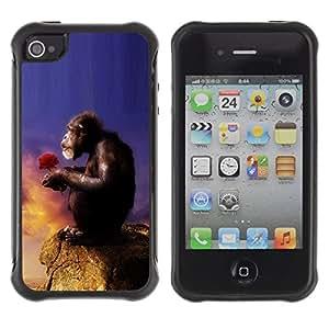 All-Round híbrido Heavy Duty de goma duro caso cubierta protectora Accesorio Generación-II BY RAYDREAMMM - Apple iPhone 4 / 4S - Monkey Ape Love Nature Symboli Art