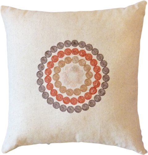 "Decorative Embroidered Circles Throw Pillow COVER 17"" Brown"