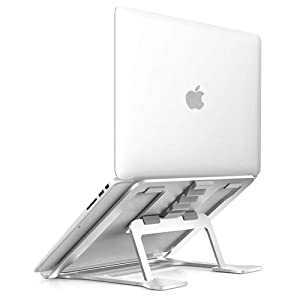 Soundance Aluminum Laptop Stand Adjustable, Compatible with Apple Mac MacBook 10 to 14 Inch Notebook, Ventilated Portable Ergonomic Desktop Holder Riser for Office Desk, Metal Silver AS1