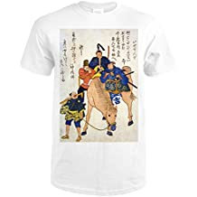 Two Japanese Men and a Foreigner Riding on a Horse Japanese Wood-Cut Print (Premium White T-Shirt Large)