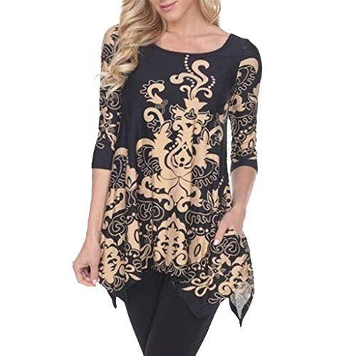 SFEHEO Plus Size Fashion Women Floral T-Shirt Three Quarter Vest O-Neck Blouse Black