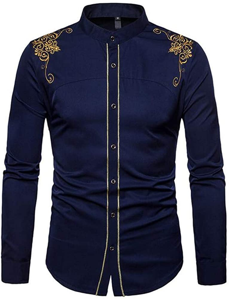 Super frist Mens Long Sleeve Embroidered Shirts Slim Fit Casual Button Down Shirt