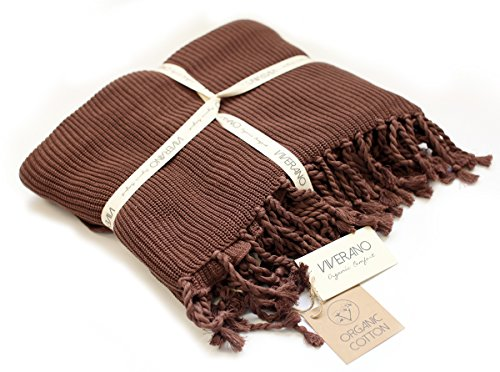 Cotton Mocha Organic (Viverano 100% Organic Cotton Knit Throw Blanket with Tassels (60x80) Soft Stretch Warm Lightweight All-Season Non-Toxic Eco-Friendly (8 Colors) (Mocha Brown))