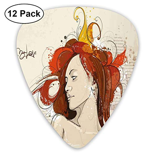 Guitar Picks 12-Pack,Muse Woman Portrait In Grunge Style Elegance Hand Drawn Mystic Beauty Picture