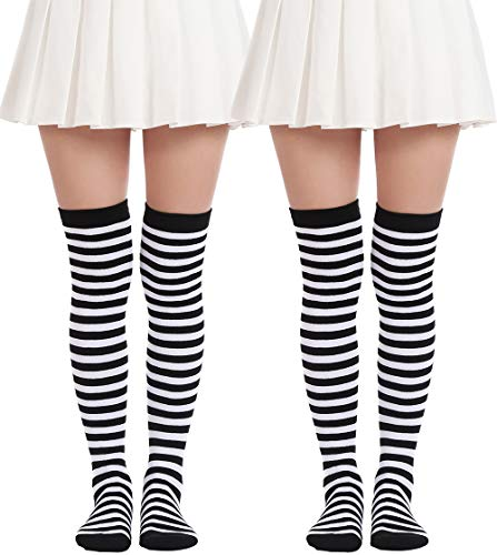 Black And White Striped Stockings (Women's Over Knee Long Sock Striped Thigh High Socks Girl Long Knitting Socks Cute Cosplay Stockings (2 Pairs Black White)