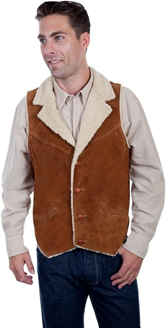 1920s Style Mens Vests Scully Mens Faux Suede Shearling Vest - 28-125 $67.94 AT vintagedancer.com