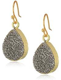 Silver Teardrop Drusy Drop Earrings