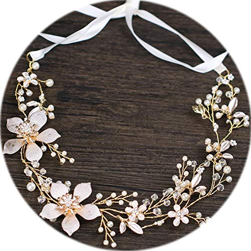 Gold Color Flower Headband Baroque Bridal Hairbands Headpiece Headdress Wedding Hair Accessories Bride Tiara Jewelry]()