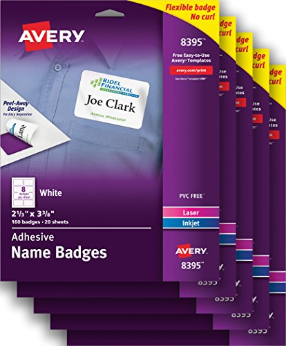 "Avery White Adhesive Name Badges , 2-1/3"" x 3-3/8"", Case Pack of 5 (8395)"