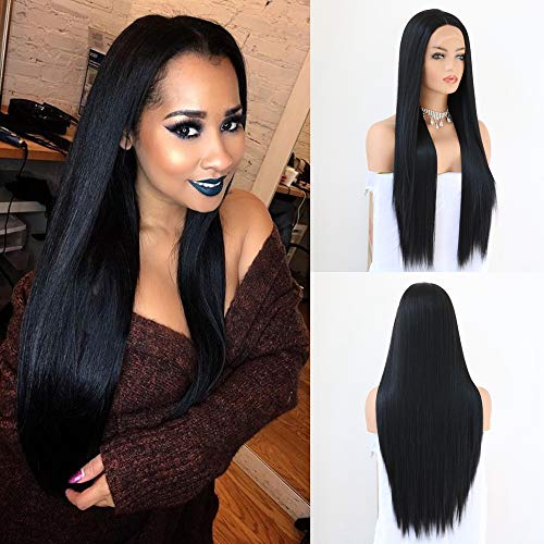 QD-Udreamy Natural Long Black 1B # Soft Straight Lace Front Wigs Heat Resistant Synthetic Hair Wigs for Black Women (Front Lace Wigs Black)