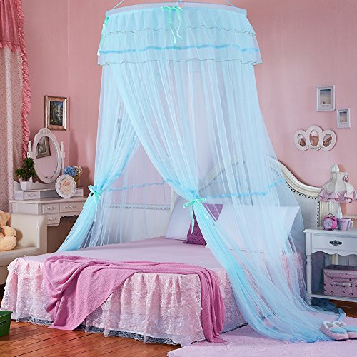 DE&QW Dome single door ceiling mosquito net bed canopy, Princess Palace 1.5 1.8m mosquito curtain-blue Queen2 by DE&QW
