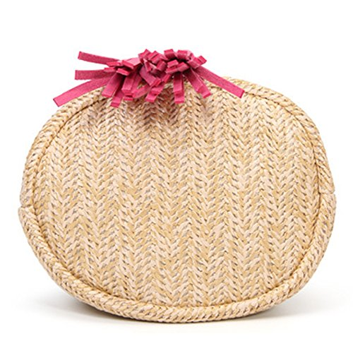 19cm marrón Mujer 19 de Bandolera Paja Pieza Rosado a para 15 Hecho Rojo Viajes Playa ratán 1 y Mackur Bolso Mano para qHxFw4