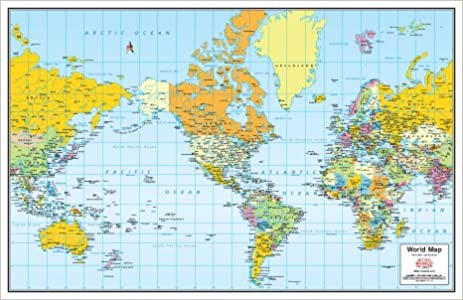 Frameable World Map.Small Colorful Political World Map Laminated And Mounted Mercator