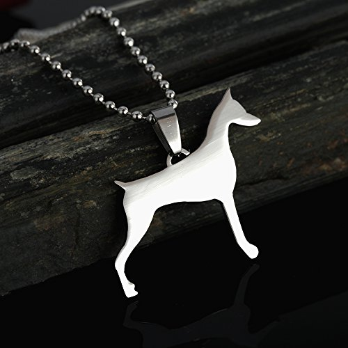 Doberman Pinscher Dog Breed - Stainless Steel Cropped Ear Doberman Dobie Pinscher Dog Silhouette Pet Dog Tag Breed Collar Charm Pendant Necklace