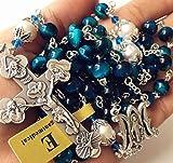 elegantmedical Handmade Bule Tiger Eye Beads & Real Pearl Rosary Cross Necklace Catholic Gifts