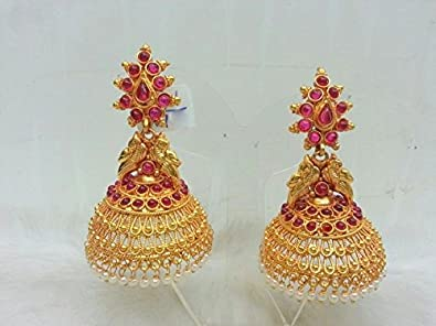 Kempu Temple Traditional South Indian Jewellery Big Broad Jhumka Red Gold