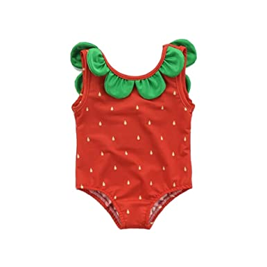 324b64581a7 Belldan Baby Sweet Girl s Summer One-Piece Fruit Swimsuits Models Bodysuit Bikini  Swimwear (Red