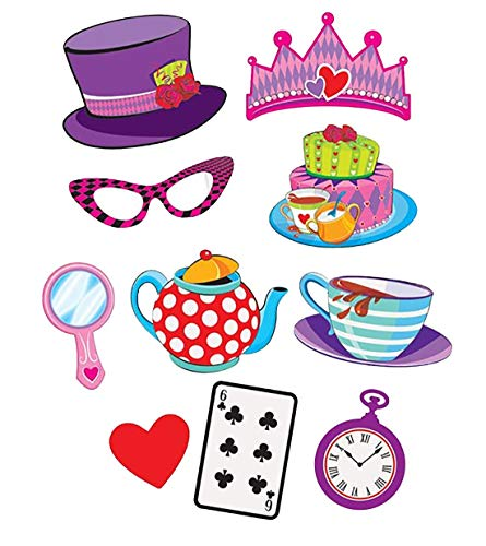 MA ONLINE Pack of 10 Mad Hatters Tea Party Photo Booth Selfie Props Adults Decoration Party Supplies One Size