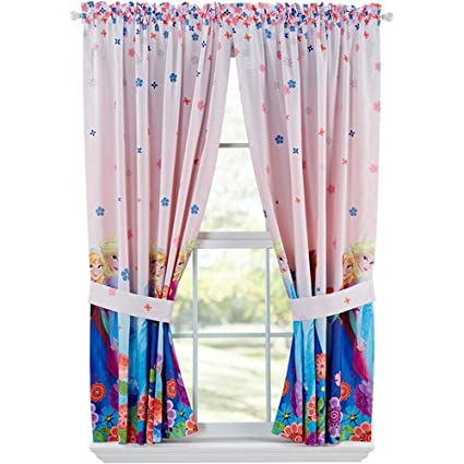 Disney Frozen Breeze Into Spring Window Panels Drapes Curtains Pink