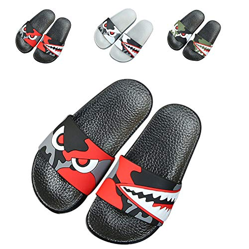 JACKSHIBO Boys Girls Slide Sandals, Outdoor Indoor Sandals Beach Water Flip Flop 66616-black Red 10 Little Kid