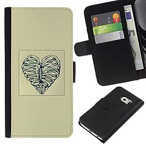 Protector de cuero de la PU de la cubierta del estilo de la carpeta del tirón BY RAYDREAMMM - Samsung Galaxy S6 EDGE - Deshuesar corazón del amor