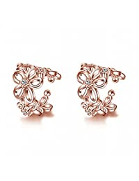 Showfay AAA Zircon No Hole and No Pierced Ear Flower Wrap&Cuff Earrings
