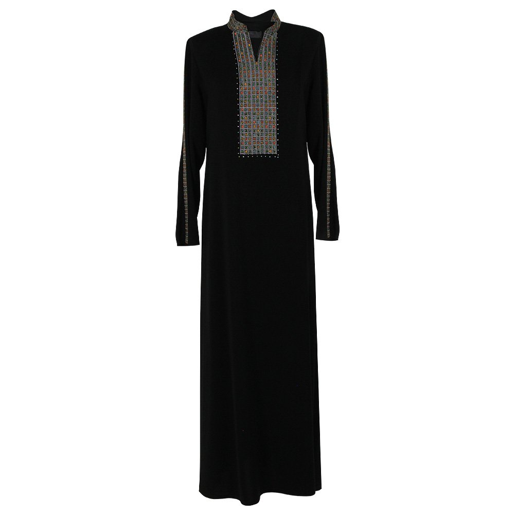 Two Black Formal Abaya Detachable Shroud with Cuffs and Embroidered Neckline